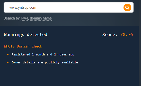 Yntscp[.]com has a risk score of 78.76.
