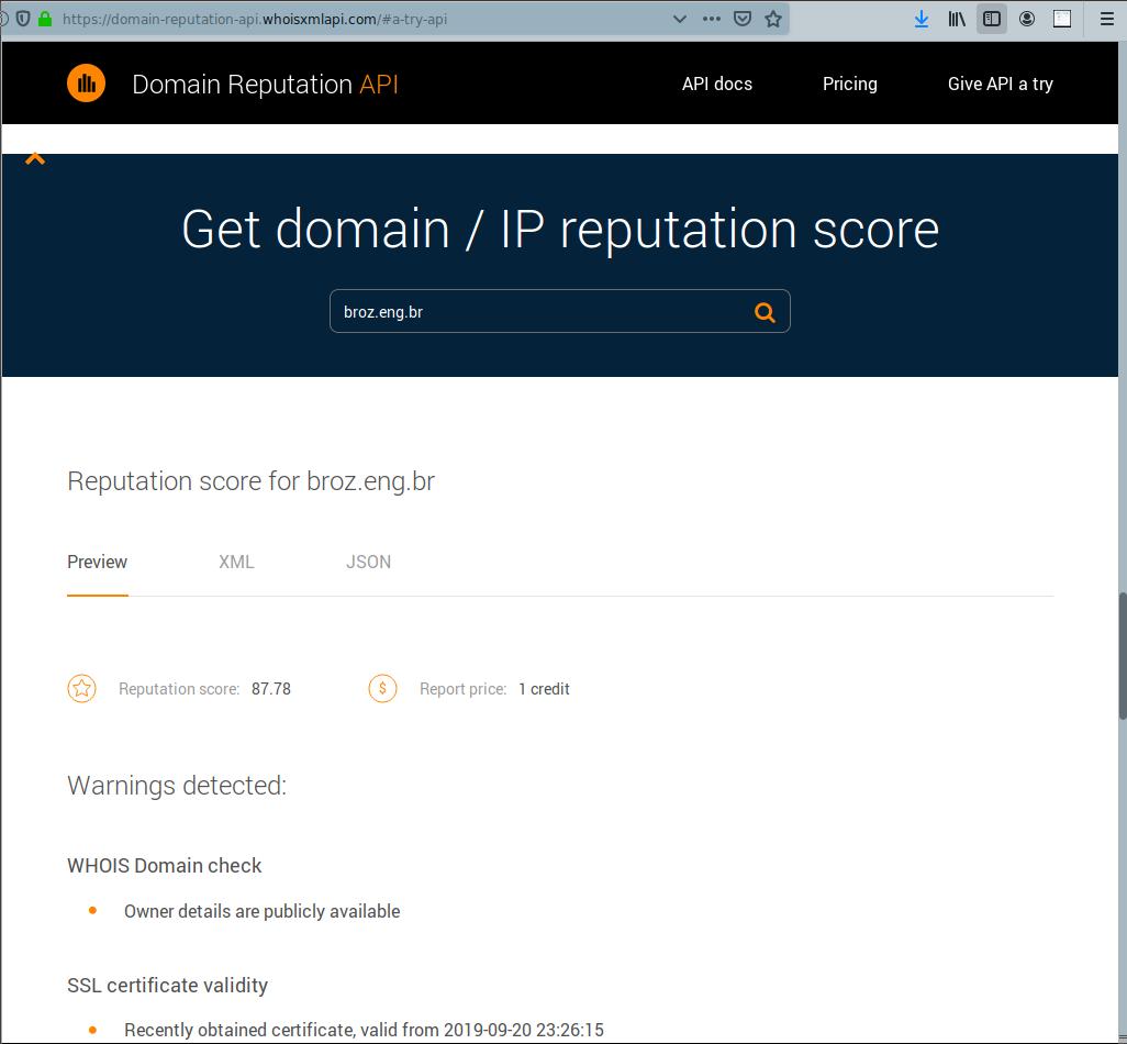 Domain Reputation API   WhoisXML API